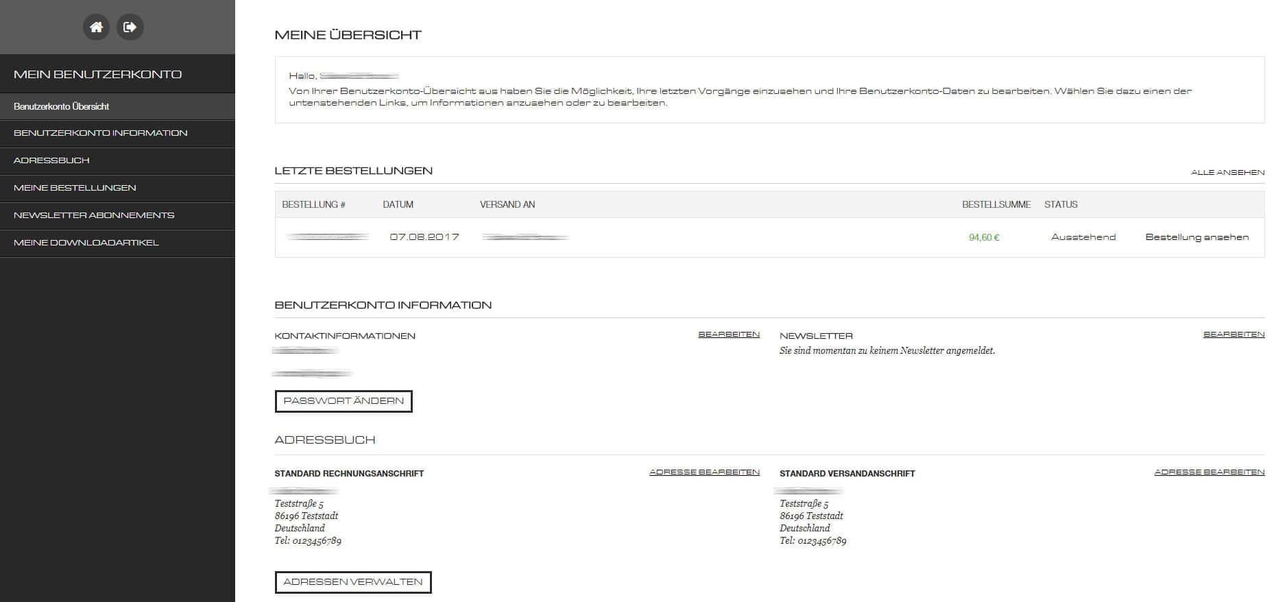 Individuelles Userfrontend Magento
