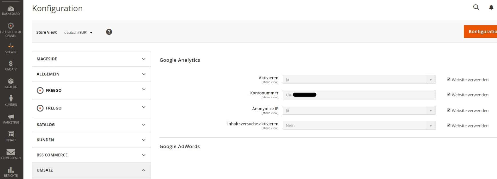 Google Analytics eCommerce Tracking Magento2 - Step 3