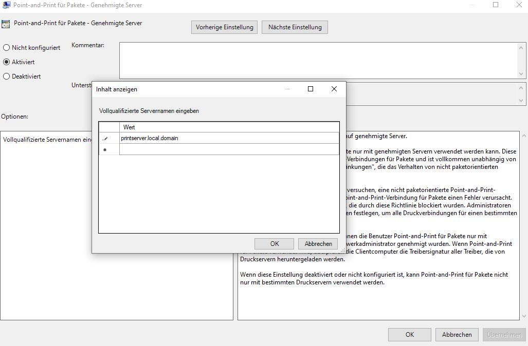 ComputerkonfigurationAdministrativeVorlagenDruckerPoint