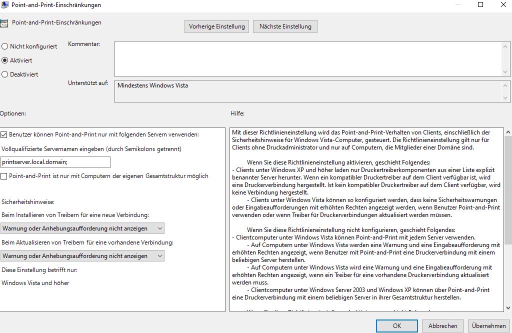 ComputerkonfigurationAdministrativeVorlagenDruckerPointundPrintEinschränkungen