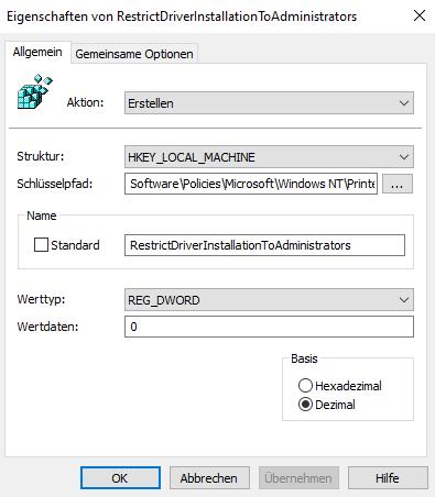 HKLMSoftwarePoliciesMicrosoftWindowsNTPrintersPointAndPrint